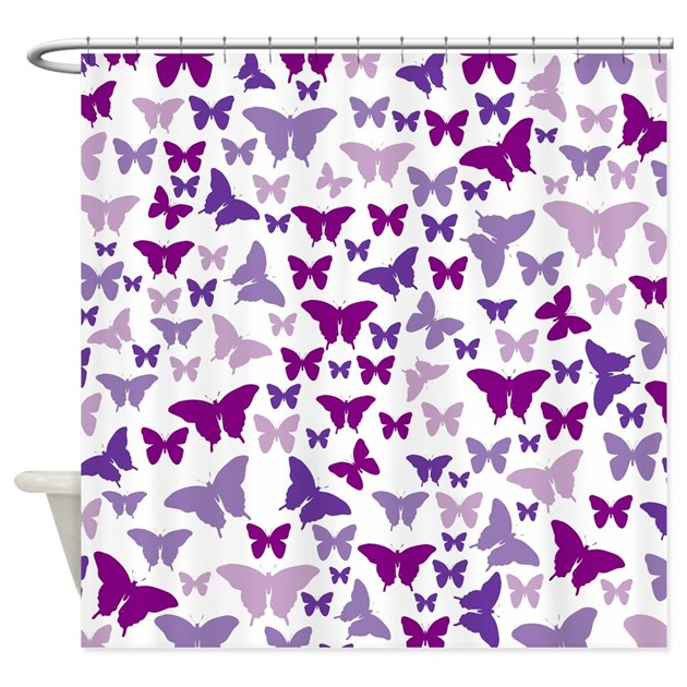 Pretty Purple Butterflies Shower Curtain By Nature Tees