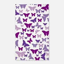 Pretty Purple Butterflies 3'x5' Area Rug