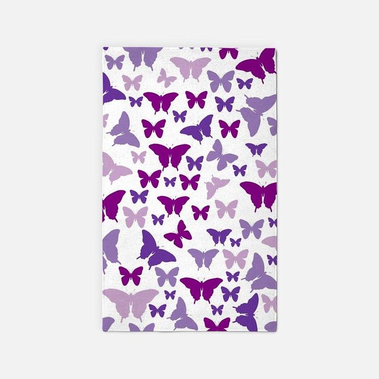 Pretty Purple Butterflies 3'x5' Area Rug