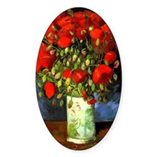 Vincent Van Gogh Vase With Red Popp Decal
