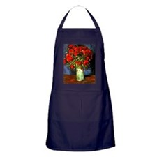 Vincent Van Gogh Vase With Red Poppie Apron (dark)