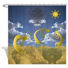 Golden Kokopelli Shower Curtain