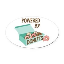 Powered By Donuts Oval Car Magnet