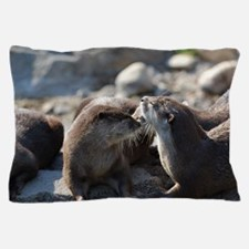 Cuddling River Otters Pillow Case