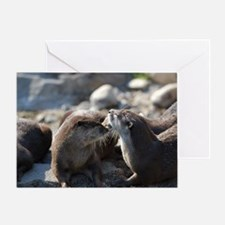 Cuddling River Otters Greeting Card
