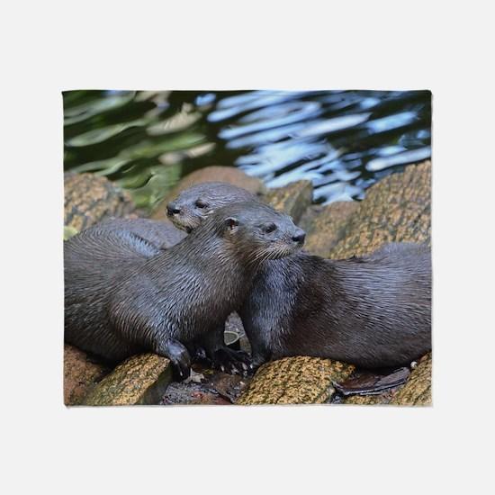 Pair of Cuddling River Otters Throw Blanket