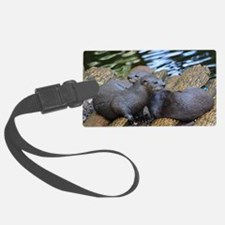 Pair of Cuddling River Otters Luggage Tag