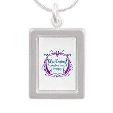 Line Dancing Happiness Silver Portrait Necklace