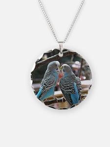 Cuddling Blue Parakeets Necklace