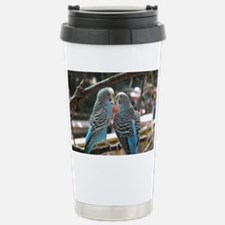 Cuddling Blue Parakeets Travel Mug