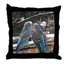 Cuddling Blue Parakeets Throw Pillow