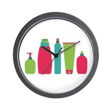 Toiletries Bottles Styling Products Wall Clock