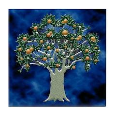 Orchard Tile Coaster (Oranges/Blue)