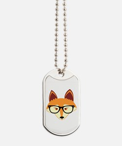 Cute Hipster Fox with Glasses Dog Tags
