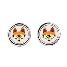 Cute Hipster Fox with Glasses Cufflinks