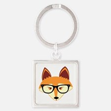 Cute Hipster Fox with Glasses Keychains