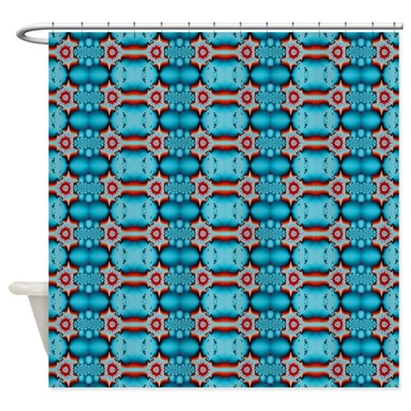 Turquoise Red Abstract Pattern Shower Curtain By Brightvibesdesign