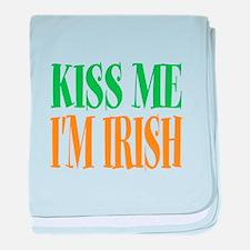 Kiss me im Irish St Patricks Day baby blanket