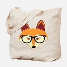 Cute Hipster Fox with Glasses Tote Bag