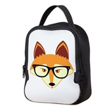 Cute Hipster Fox with Glasses Neoprene Lunch Bag