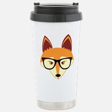 Cute Hipster Fox with Glasses Travel Mug