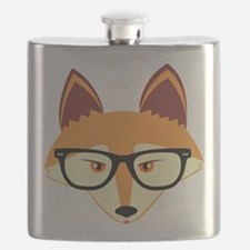 Cute Hipster Fox with Glasses Flask