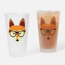 Cute Hipster Fox with Glasses Drinking Glass