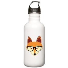 Cute Hipster Fox with Glasses Water Bottle