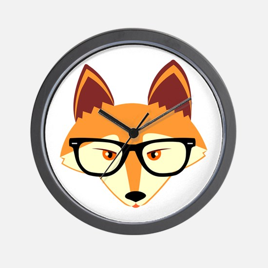 Cute Hipster Fox with Glasses Wall Clock