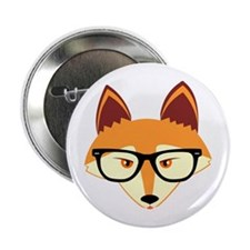 "Cute Hipster Fox with Glasses 2.25"" Button"