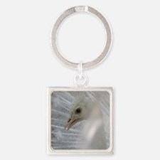 White Peacock Square Keychain