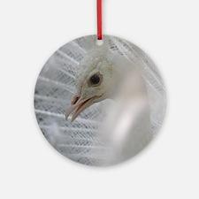 White Peacock Round Ornament