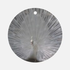 White Peafowl Plummage Round Ornament