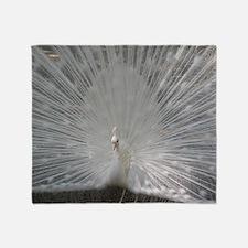 White Peafowl Plummage Throw Blanket