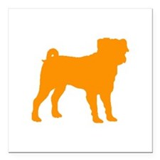 "pug orange 1C Square Car Magnet 3"" x 3"""