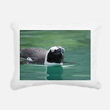 Penguin Swimming  Rectangular Canvas Pillow