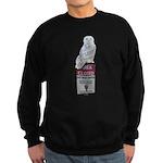 Snowy Owl On Sign Sweatshirt (Dark)