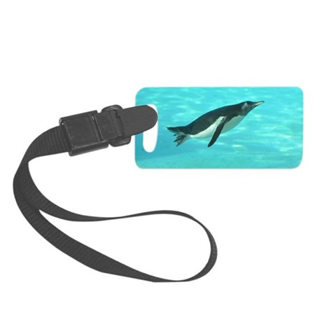 Penguin Swimming Underwater Small Luggage Tag
