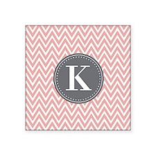 Pale Pink Chevron Pattern Grey Monogram Sticker