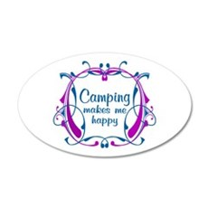 Camping Happiness 20x12 Oval Wall Decal