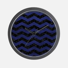 CHEVRON3 BLACK MARBLE & BLUE LEATHER Wall Clock