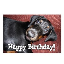 Happy Birthday Doberman P Postcards (Package Of 8)