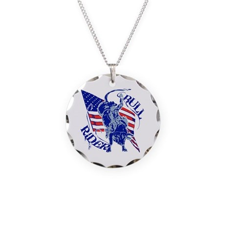 American Bull Rider Necklace Circle Charm