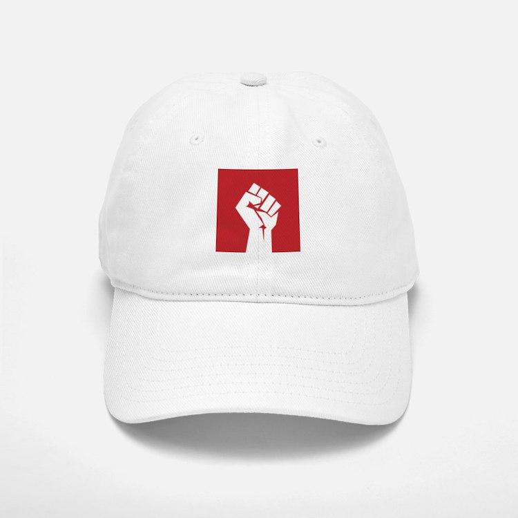 Retro fist design on red Baseball Baseball Baseball Cap