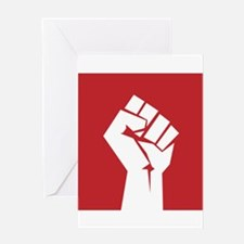 Retro fist design on red Greeting Cards