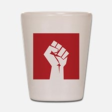 Retro fist design on red Shot Glass