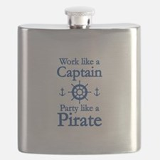 Work Like A Captain Party Like A Pirate Flask
