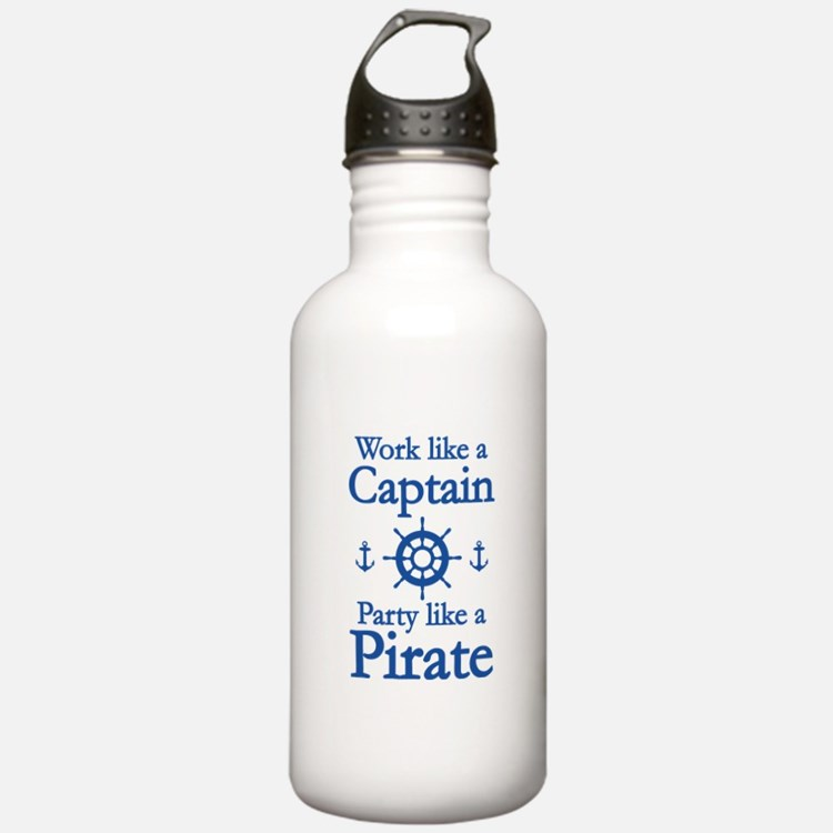 Work Like A Captain Party Like A Pirate Water Bottle