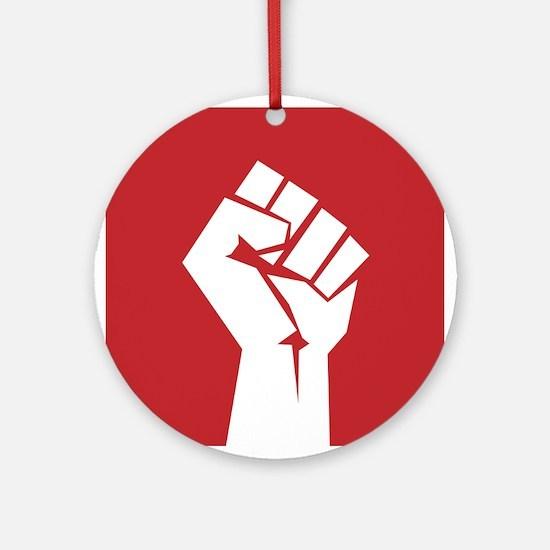 Retro fist design on red Ornament (Round)