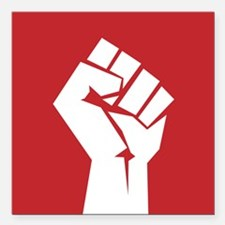 "Retro fist design on red Square Car Magnet 3"" x 3"""